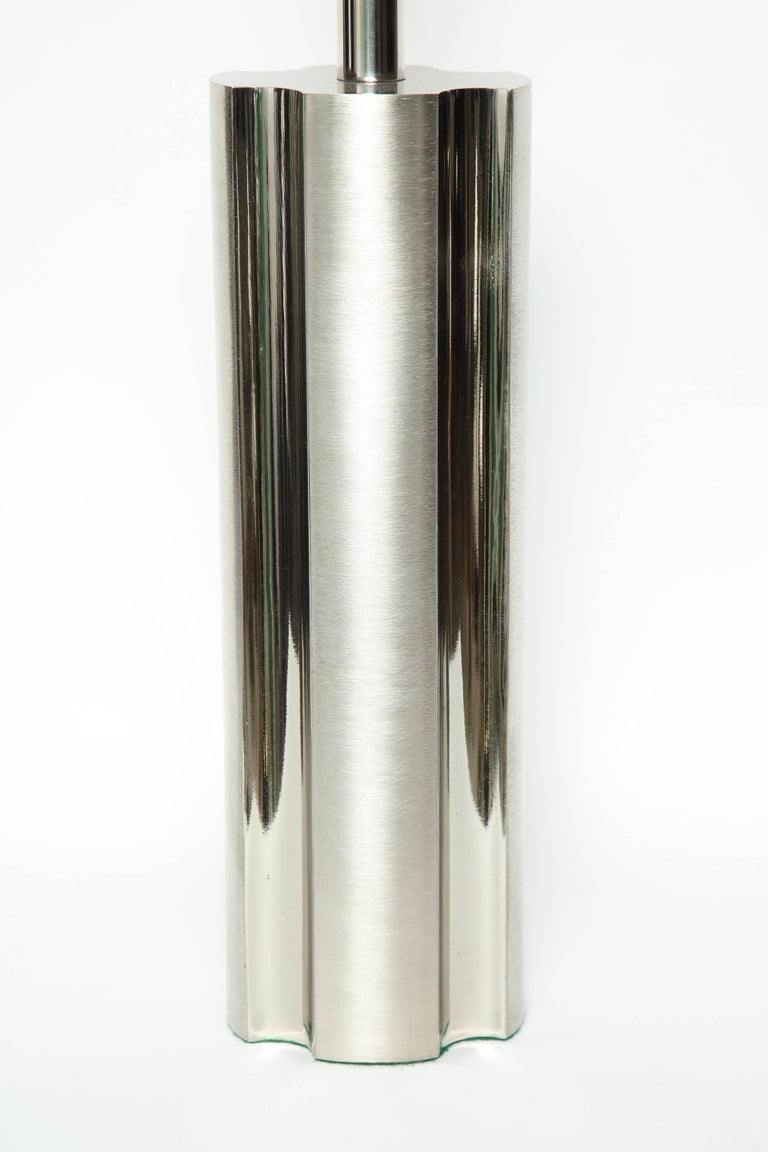 Stainless Steel Laurel Fluted Steel Column Lamps For Sale