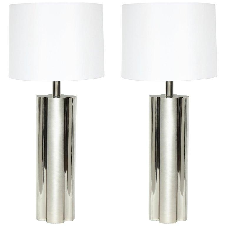 Laurel Fluted Steel Column Lamps For Sale