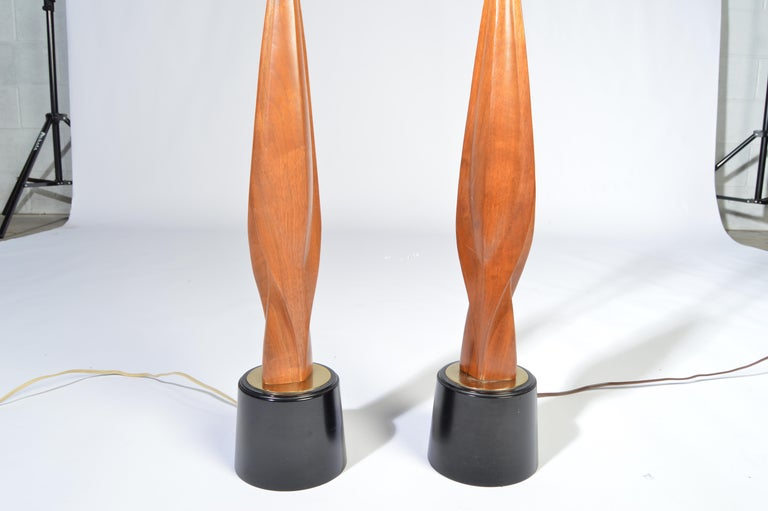 American Laurel Lamp Company Midcentury Sculptural Walnut Table Lamps, circa 1960