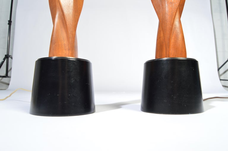 Carved Laurel Lamp Company Midcentury Sculptural Walnut Table Lamps, circa 1960