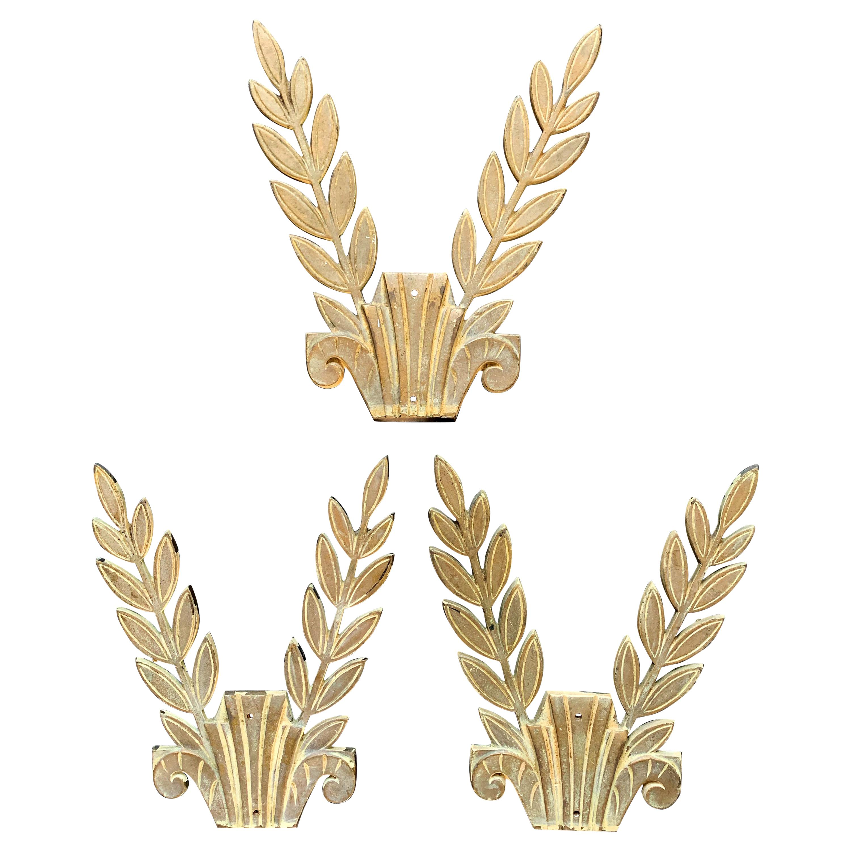 Laurel Leaf Appliqués/Sconces in Bronze, Art Deco, Set of 3