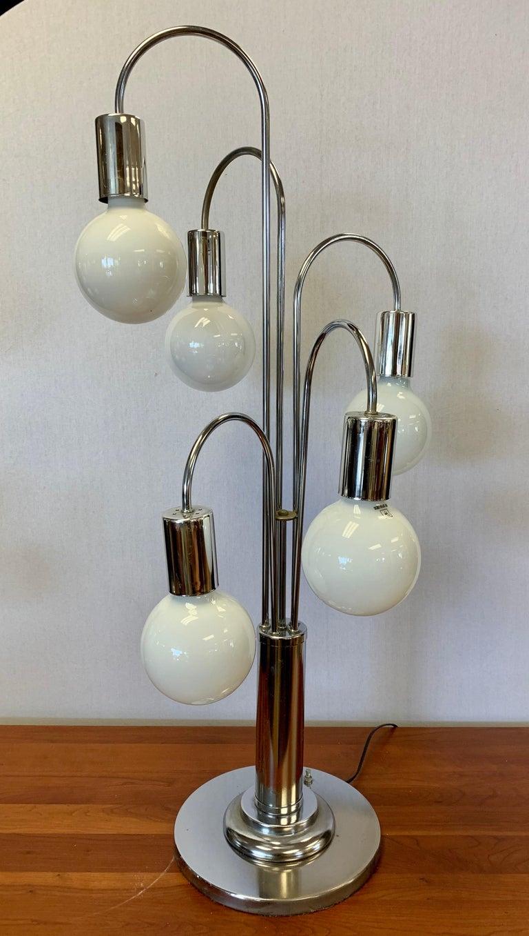 Mid-Century Modern Laurel Lighting Mid Century Chrome Waterfall Large Table Lamp