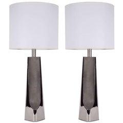 Laurel Modernist Polished Chrome Lamps