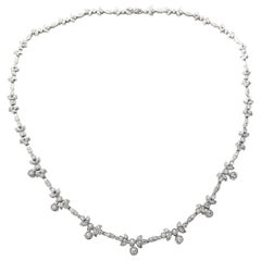 Laurel Motif Diamond and White Gold Necklace