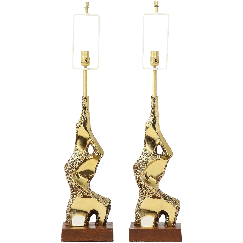Laurel Sculptural Brutalist Brass Table Lamps