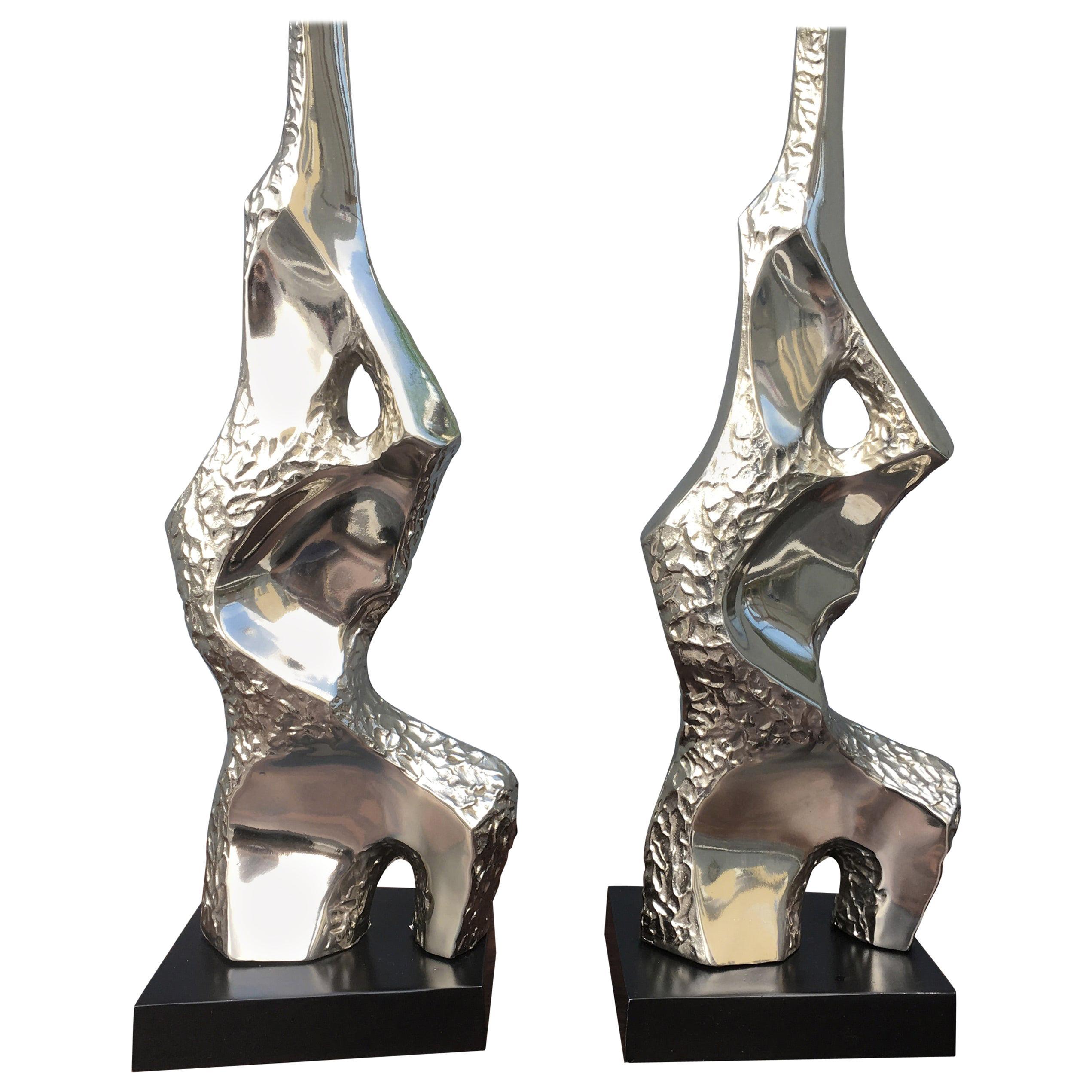 Laurel Sculptural Brutalist Table Lamps, Mid-Century Modern