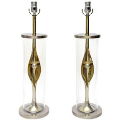 Laurel Sculptural Mixed Metal and Lucite Lamps Mid-Century Modern Pair of