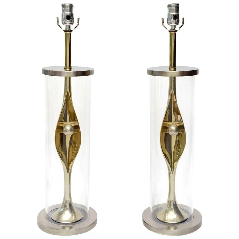 Laurel Sculptural Mixed Metal and Lucite Lamps Mid-Century Modern Pair of For Sale