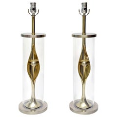 Pair of Laurel Sculptural Mixed Metal and Lucite Lamps Mid-Century Modern