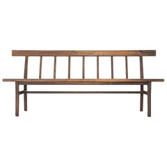 Laurel Settee, Modern Walnut Windsor Style Bench