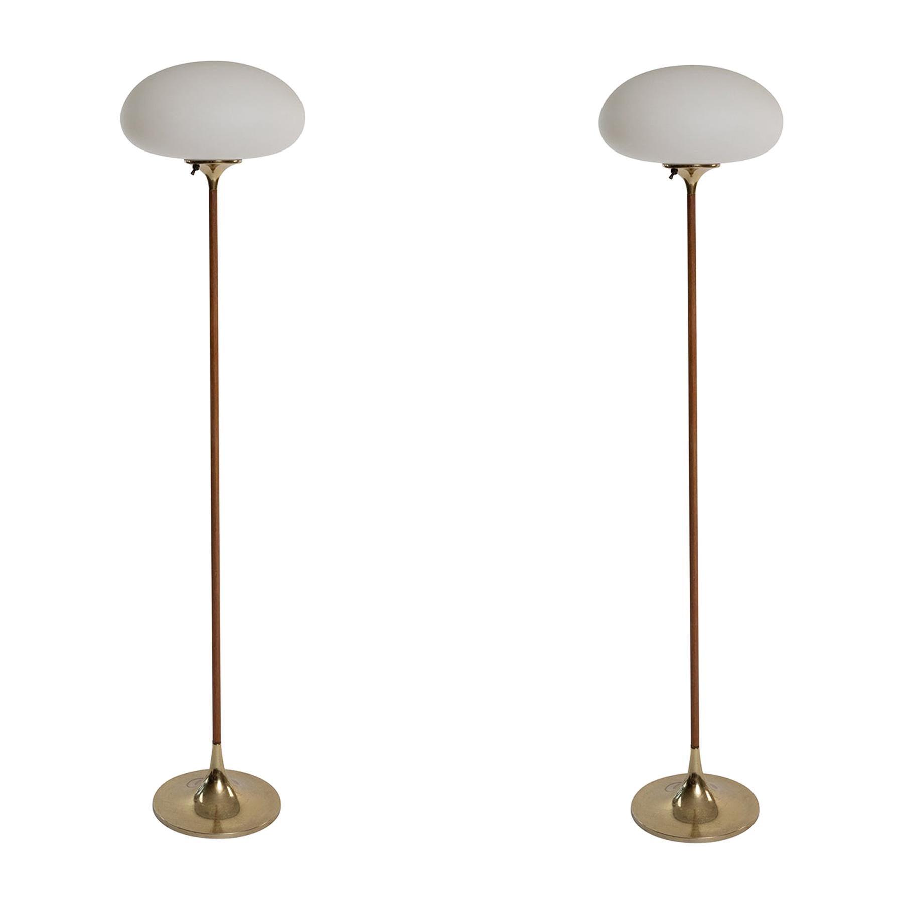 Laurel Walnut & Brass Mushroom Floor Lamps