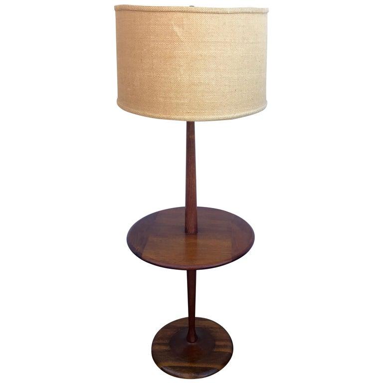 Laurel Walnut Mid Century Modern Floor Lamp With Table Circa 1960s