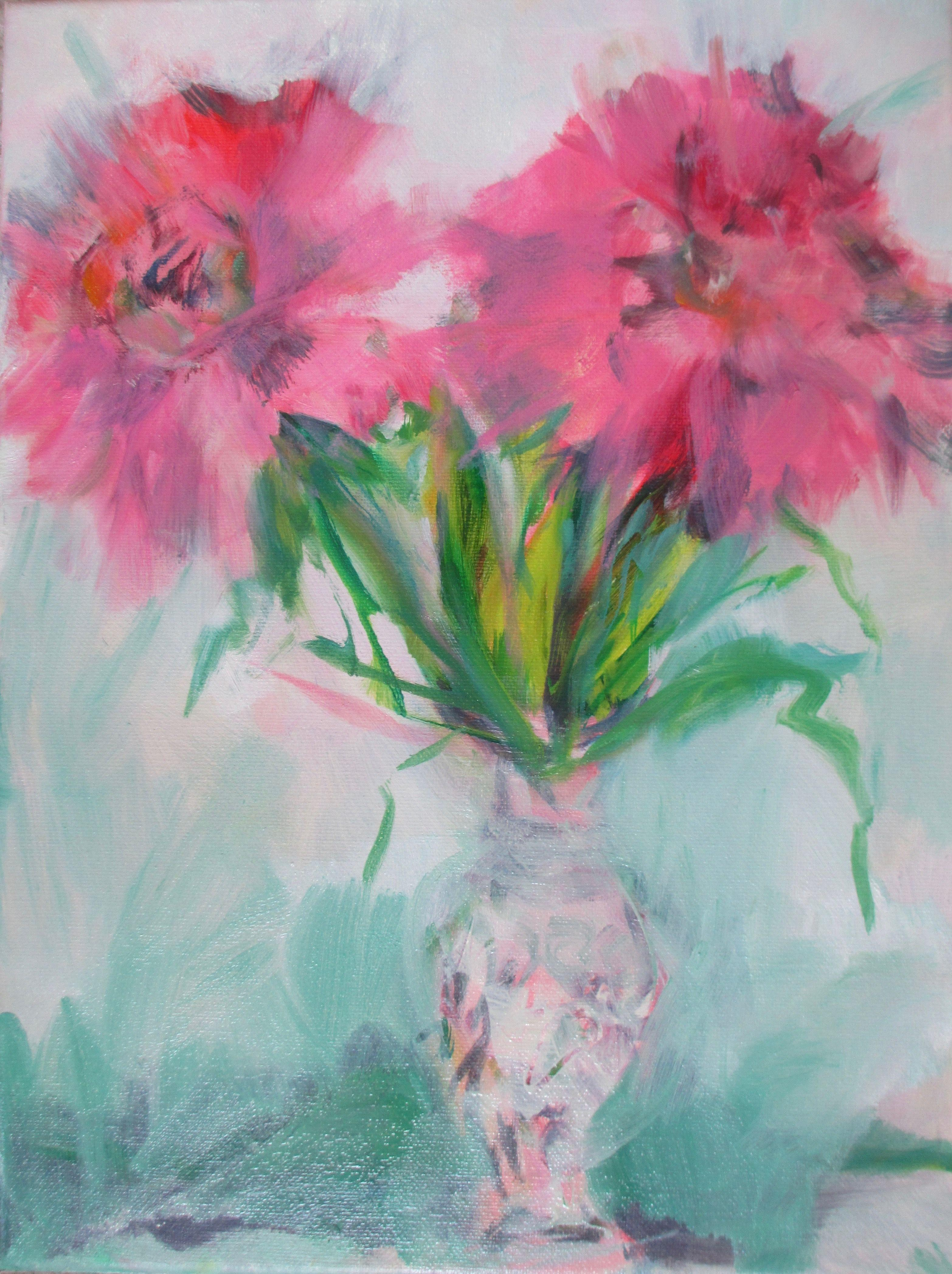 1stDibs & Flowers in Vase Painting Oil on Canvas