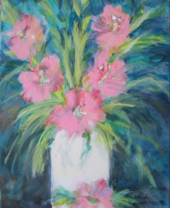 Pink Gladiolas, Painting, Oil on Canvas