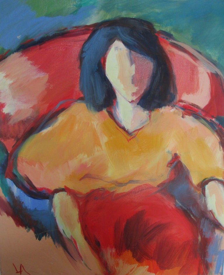 part of figure seated series :: Painting :: Contemporary :: This piece comes with an official certificate of authenticity signed by the artist :: Ready to Hang: Yes :: Signed: Yes :: Signature Location: bottom left :: Canvas :: Portrait :: Original