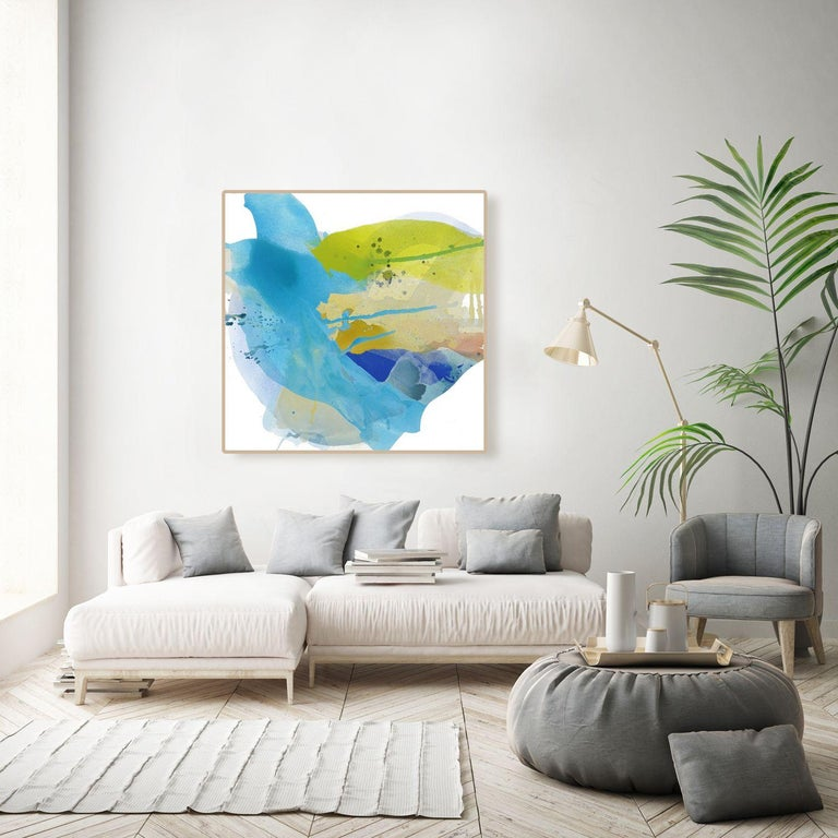 CASCADING BREEZE, Painting, Acrylic on Canvas - Blue Abstract Painting by Lauren Adams