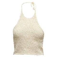 Lauren Collection White Ralph Crochet Halter Top