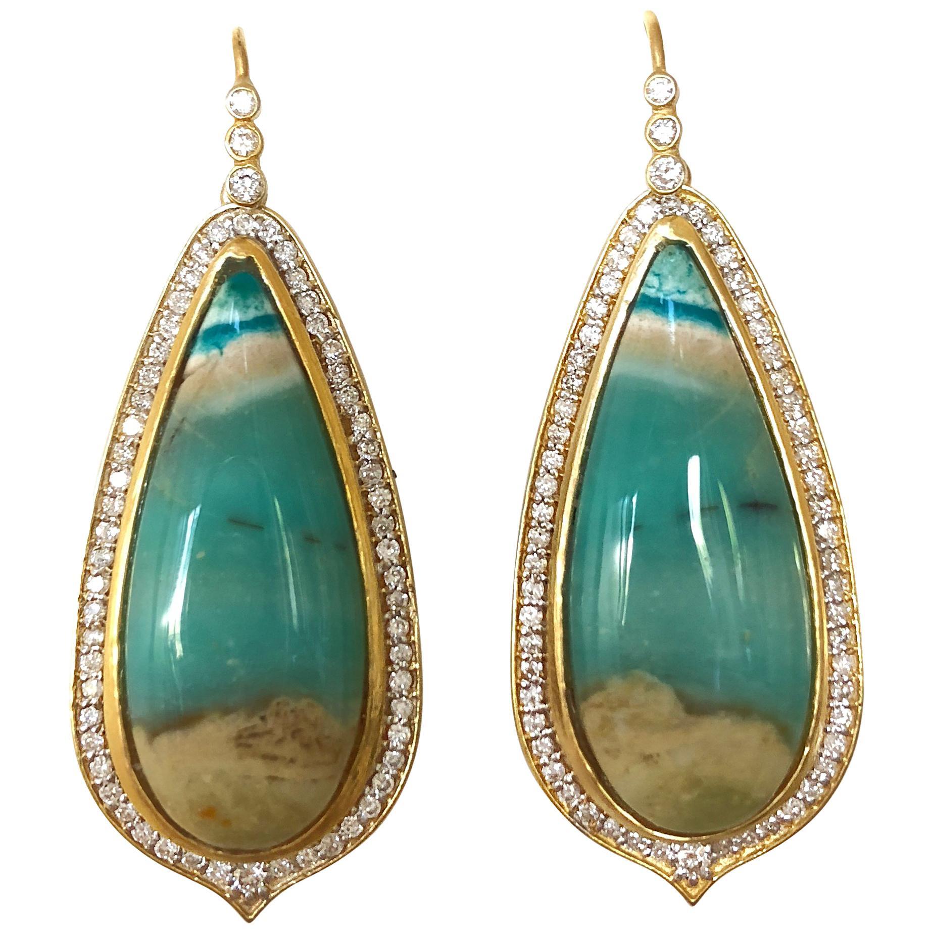 Lauren Harper 1.03 Carat Diamonds Opalized Petrified Wood Gold Earrings