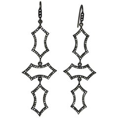 1.55 Carat Diamond Black Silver Gothic Earrings by Lauren Harper