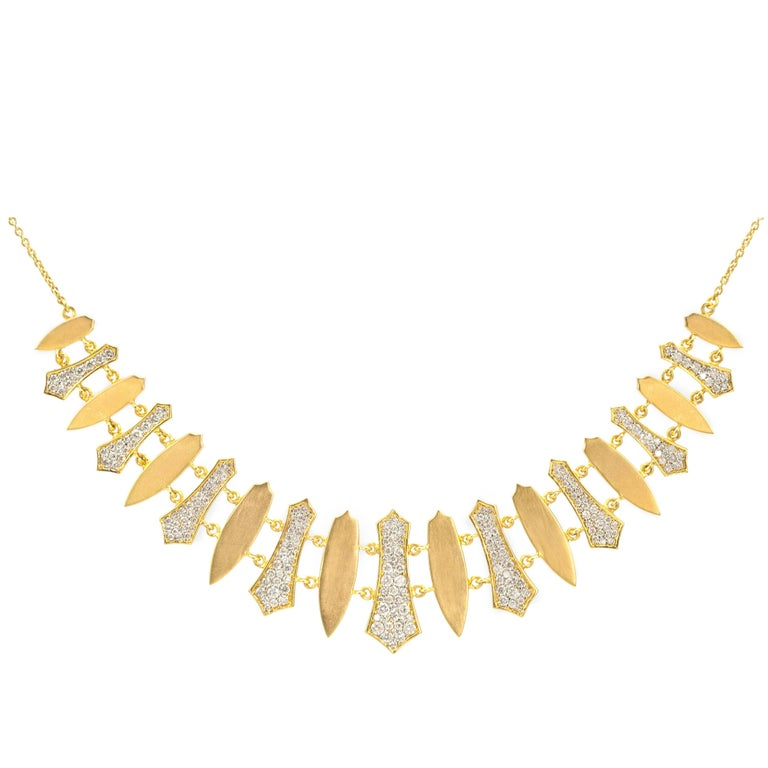 Lauren Harper 2.79 Carat Diamonds, 18 Karat Gold Statement Necklace