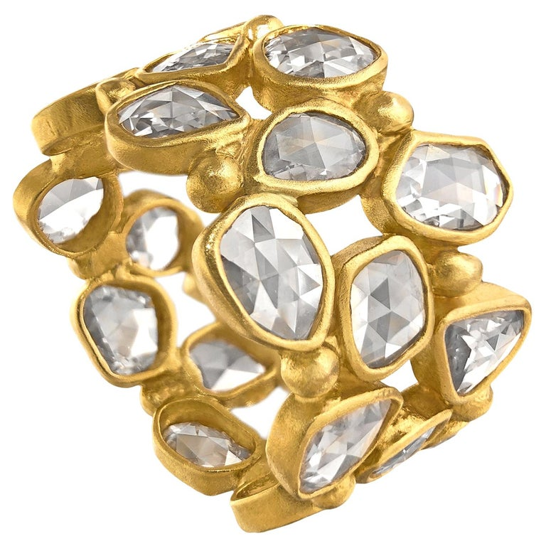 Lauren Harper 3.82 Ct Rosecut Diamond Matte Gold Three-Row Eternity Band Ring For Sale