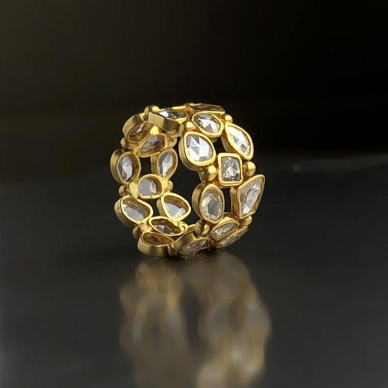 Rose Cut Lauren Harper 3.82 Ct Rosecut Diamond Matte Gold Three-Row Eternity Band Ring For Sale