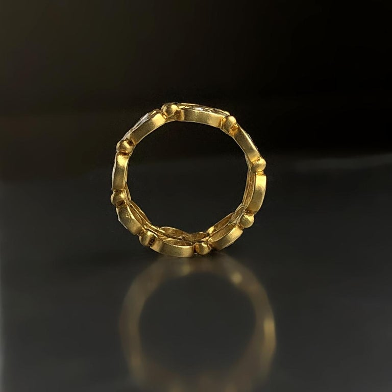 Lauren Harper 3.82 Ct Rosecut Diamond Matte Gold Three-Row Eternity Band Ring In New Condition For Sale In Dallas, TX