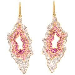 Lauren Harper 4.12 Carat Pink and White Sapphire Gold Organic Drop Earrings