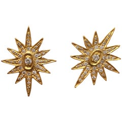 .44 Carat Diamonds Gold Star Studs by Lauren Harper