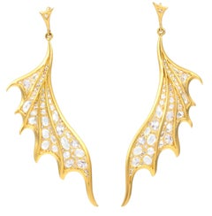 Lauren Harper 6.15 Carat White Sapphires, 18 Karat Gold Dragon Wing Earrings