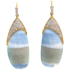 African Opal White Sapphire Gold Earrings by Lauren Harper