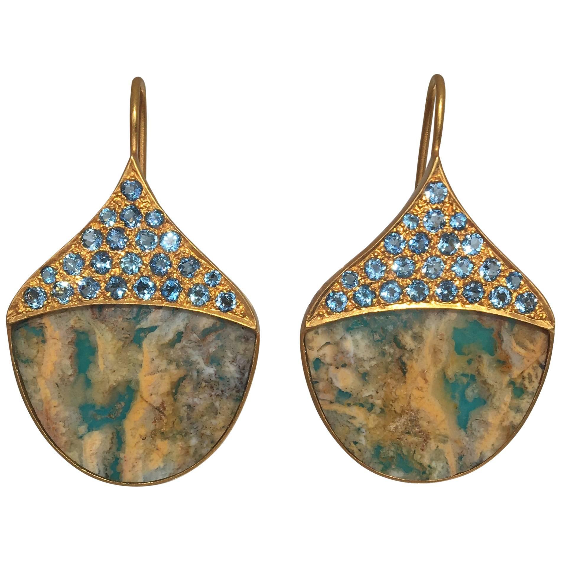 Lauren Harper Aquamarine Agate Gold Earrings