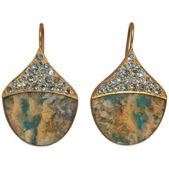 Lauren Harper Aquamarine Agate Gold Earrings