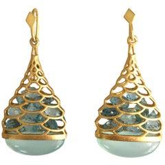Lauren Harper Aquamarine Chalcedony Gold Drop Earrings