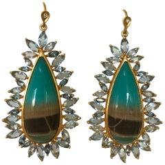 Lauren Harper Aquamarine Opalized Petrified Wood Gold Earrings