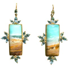 Aquamarine Opalized Petrified Wood Gold Earrings by Lauren Harper
