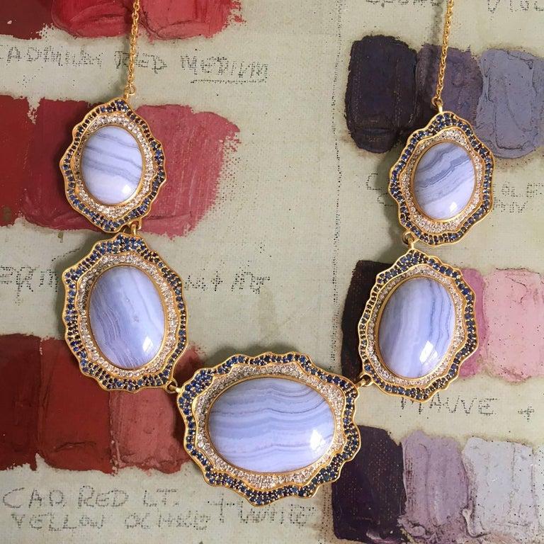 Lauren Harper Blue Agate, Sapphire, Gold Statement Necklace For Sale 5