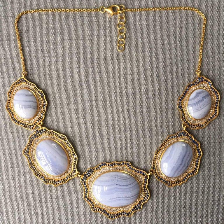 Lauren Harper Blue Agate, Sapphire, Gold Statement Necklace For Sale 7