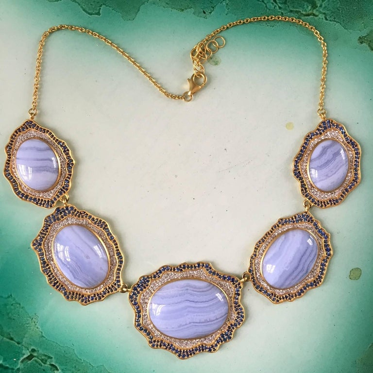 Artist Lauren Harper Blue Agate, Sapphire, Gold Statement Necklace For Sale