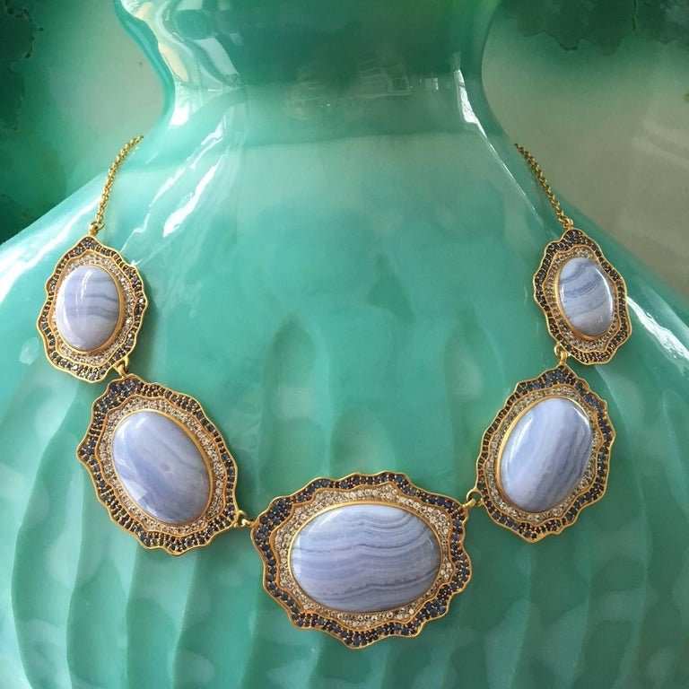 Women's or Men's Lauren Harper Blue Agate, Sapphire, Gold Statement Necklace For Sale