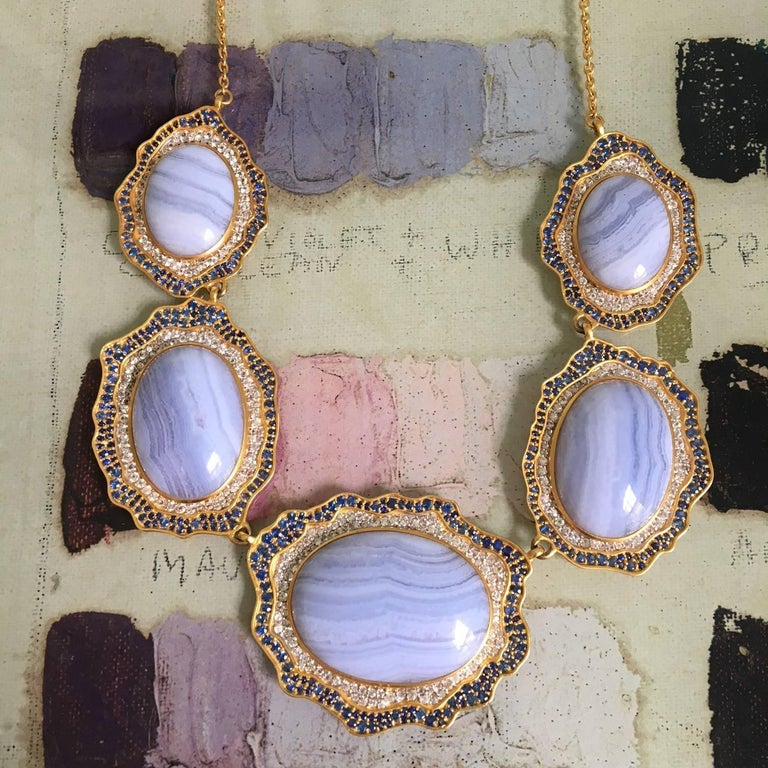 Lauren Harper Blue Agate, Sapphire, Gold Statement Necklace For Sale 1