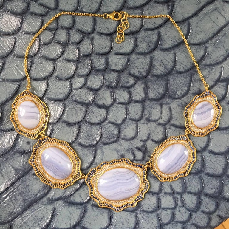Lauren Harper Blue Agate, Sapphire, Gold Statement Necklace For Sale 2