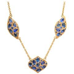 Lauren Harper Blue Sapphire 18 Karat Gold Necklace