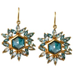 Blue Topaz, Aquamarine Gold Hexagon Earrings by Lauren Harper