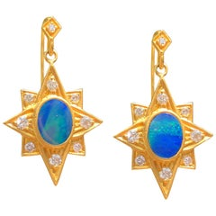 Lauren Harper Boulder Opal .52 Carat Diamond Gold Earrings
