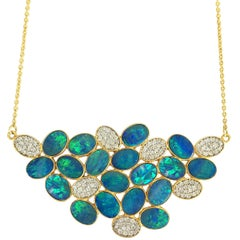 Lauren Harper Boulder Opal Diamond Gold Necklace