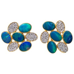 Boulder Opal Diamond Gold Studs by Lauren Harper