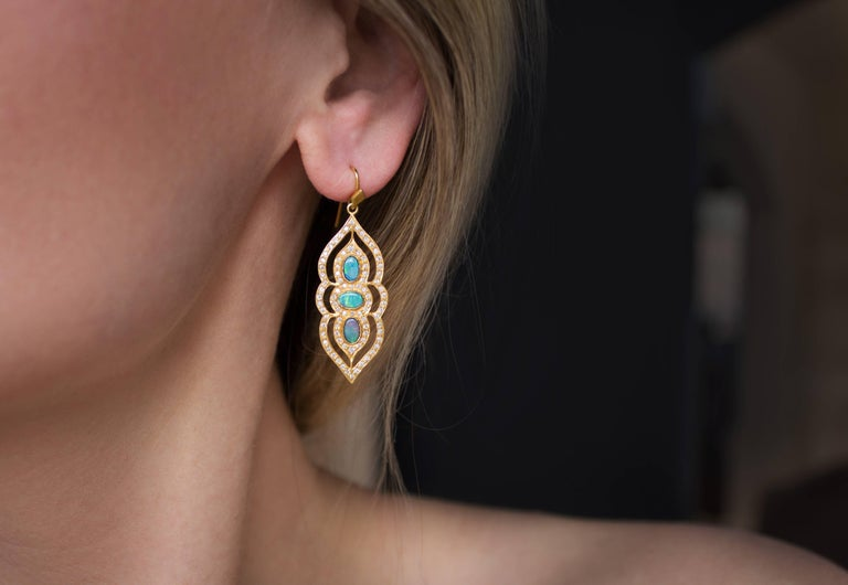 One of a Kind Arabesque Drop Earrings handcrafted in matte-finished 18k yellow gold by jewelry artist Lauren Harper with six vibrant boulder opal doublet oval cabochons and accented with 0.91 carats of round brilliant-cut white diamonds.