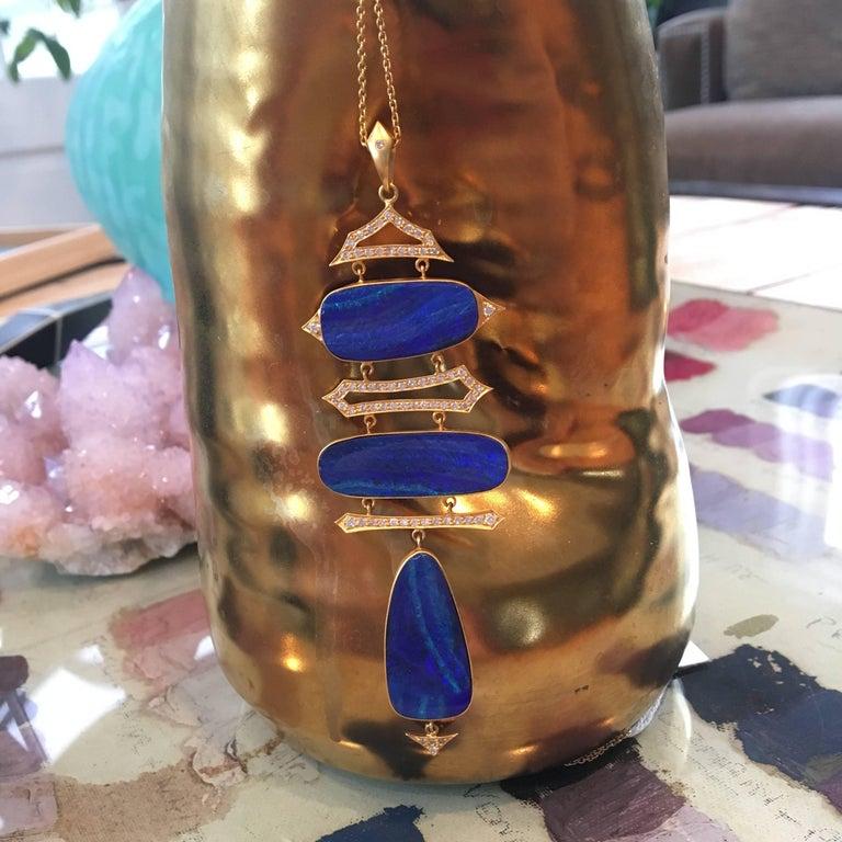 Women's Lauren Harper Boulder Opal, Diamond, Gold Statement Necklace For Sale