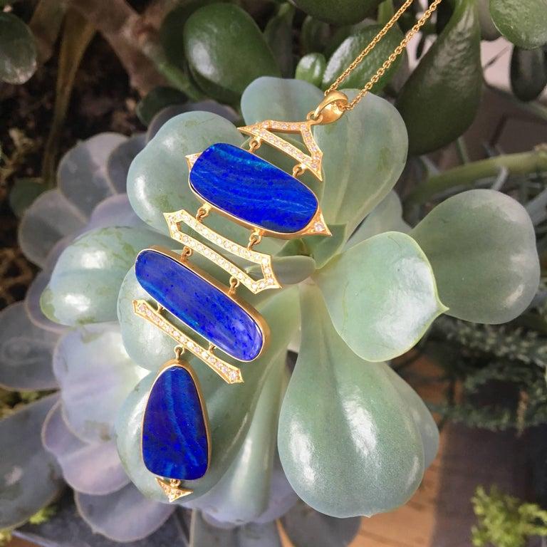 Lauren Harper Boulder Opal, Diamond, Gold Statement Necklace For Sale 2